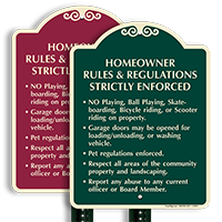 Homeowner Rules And Regulations Strictly Enforced Sign