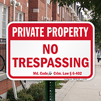Maryland Private Property Sign