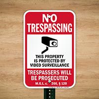 Massachusetts Trespassers Will Be Prosecuted Sign