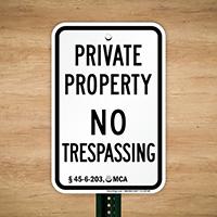 Montana No Trespassing Sign