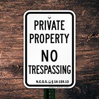 North Carolina No Trespassing Sign