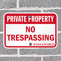 North Carolina Private Property Sign