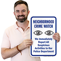 Neighborhood Crime Watch Eyes Symbol Plastic Sign