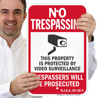 New Jersey Trespassers Will Be Prosecuted Sign