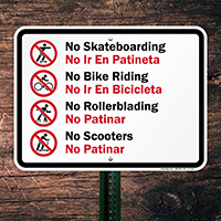 No Skateboarding Bilingual Sign With Graphic