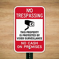 No Cash On Premises Video Surveillance Sign