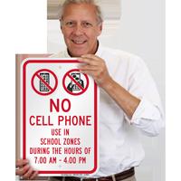 No Phone In School Zone Sign