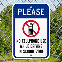 No Cellphone Use While Driving Sign