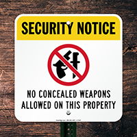 No Concealed Weapons Allowed Sign (with Graphic)
