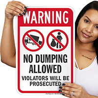 No Dumping Allowed Warning Sign