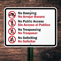 Bilingual No Dumping Sign (with Graphic)