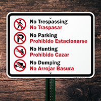 Bilingual No Trespassing & No Dumping Graphic Sign