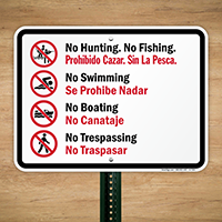 Bilingual No Hunting, No Fishing, No Boating Sign