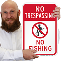 No Fishing With Graphic No Trespassing Sign