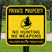 No Hunting No Weapons Private Property Sign