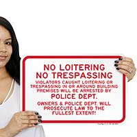 No Loitering No Trespassing Violators Arrested sign