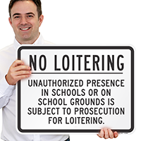 No Loitering Unauthorized Prosecution Sign