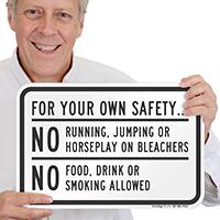 No Running, Jumping, Horseplay On Bleachers Sign