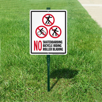 No Skateboarding No Bicycle Riding Roller Blading Sign