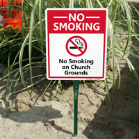 No Smoking On Church Grounds Sign