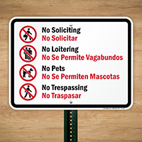 No Soliciting Bilingual Sign With Graphic