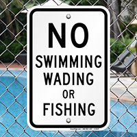 No Swimming Wading Or Fishing Signs