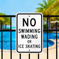 No Swimming Wading Signs