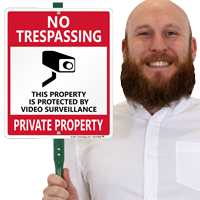 No Trespassing, Private Property with Graphic, Security Signs