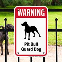 Warning Pit Bull Guard Dog Guard Dog Sign