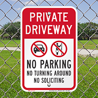Private Driveway, No Parking Signs