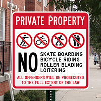Private Property,No Skateboarding, Bicycle Riding,Security Sign