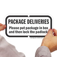 Put Package In Box And Then Lock Sign