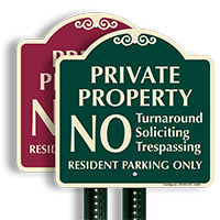 Private Property Resident Parking Only SignatureSign