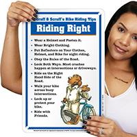 Riding Right McGruff Bike Safety Sign