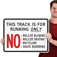 This Track Is For Running Only Sign