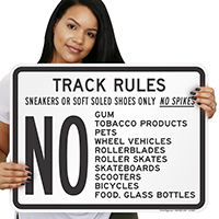 Track Rules Sneakers Gum Glass Sign