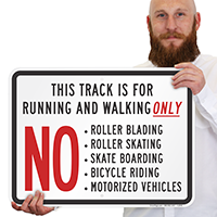 Track Running Walking No Vehicles Sign