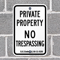 South Carolina No Trespassing Sign