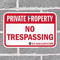 South Carolina Private Property Sign
