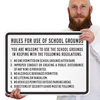 Schools Grounds Safety Rules Sign