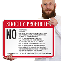 Strictly Prohibited, Property Rules, Violators Prosecuted Sign