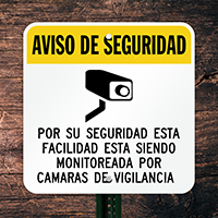 Spanish CCTV Surveillance Sign (With Graphic)