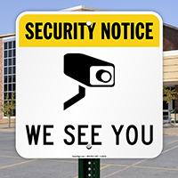 Security Notice Sign with Video Camera Graphic