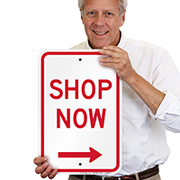Shop Now With Right Arrow Sign