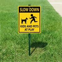 Kids and pets at play sign