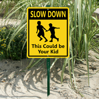 Slow Down LawnBoss Sign With Kids running Graphic