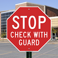 Stop Check With Guard Reflective Aluminum STOP Sign