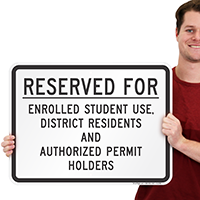 Reserved for Enrolled Student Use Sign