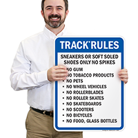 Track Rules Sneakers Sign