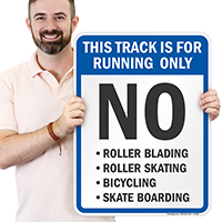 Track Running Only Sign